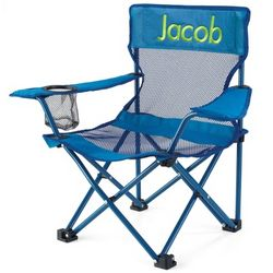 Kid's Blue Fold and Go Chair with Lime Name