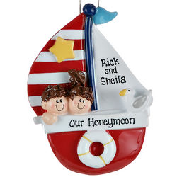 Personalized Sailboat Couple Christmas Ornament