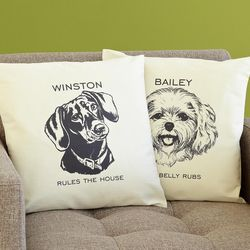Personalized Dog Breed Sketch Accent Pillow