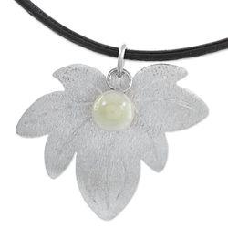 Green Vine Leaf Jade Pendant Necklace