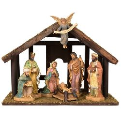 Antique Nativity with Stable 7-Piece Set