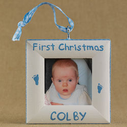Baby's First Christmas Picture Frame Ornament with Footprints