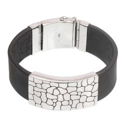 Men's Contrast Leather and Sterling Silver Wristband Bracelet