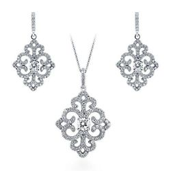 Sterling Silver CZ Art Deco Filigree Necklace and Earrings