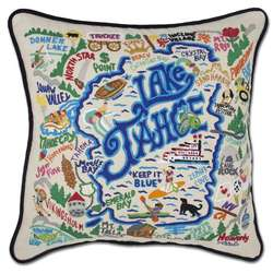 Lake Tahoe Embroidered Pillow