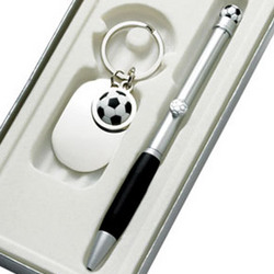 Personalized Soccer Key Chain and Ball Point Pen Gift Set
