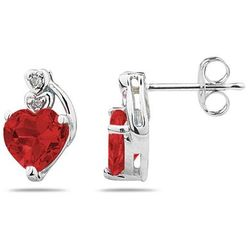 Heart Shape Garnet and Diamond Earrings in White Gold