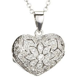 Sterling Silver and Cubic Zirconia Filigree Heart Locket