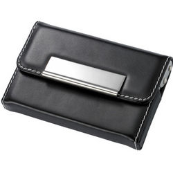 Black Leather Business Card Case with White Stitching