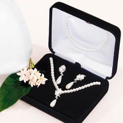 Pearl Necklace, Bracelet and Earrings Set