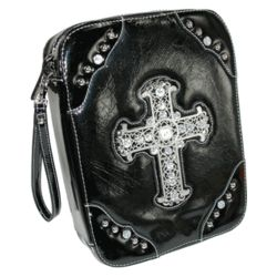 Crinkled Faux Patent Bible Cover with Silver Cross
