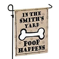 Personalized Poop Happens Pet Garden Flag