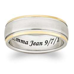 Two-Tone Titanium Engraved 5mm Wedding Band