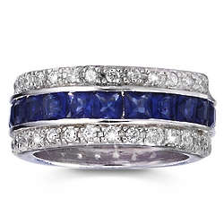 Simulated Sapphire and Cubic Zirconia Celestial Eternity Band