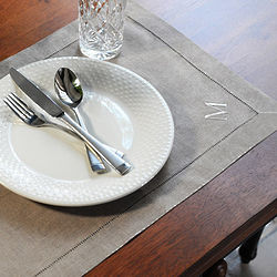 Personalized Natural Linen Hemstitch Placemats