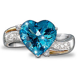 Heart Embrace Blue Topaz and Diamond Ring