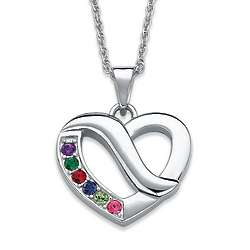 Silvertone Metal Birthstone Forever in My Heart Pendant