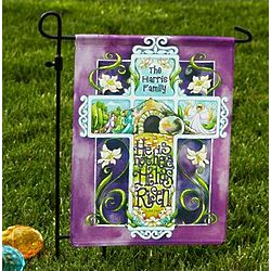 He is Risen Personalized Easter Garden Flag with Stake