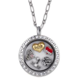 Charming Life Silvertone Round Rhinestone Mother's Locket