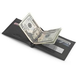 Black Leather Bifold Wallet with Money Clip