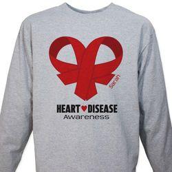 Heart Disease Awareness Ribbon Long Sleeve T-Shirt