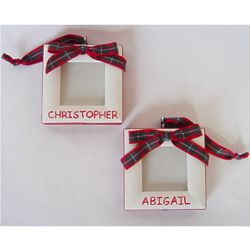 Personalized Tartan Picture Frame Christmas Ornament