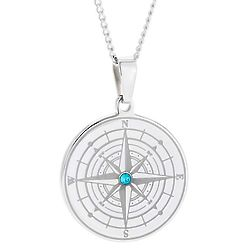 Engravable Compass Pendant with Birthstone Center