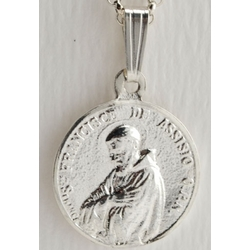 Sterling Silver St. Anthony and St. Francis Medal with Chain