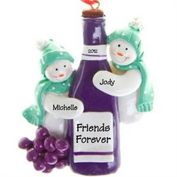 Wine Bottle Friends Forever Personalized Ornament