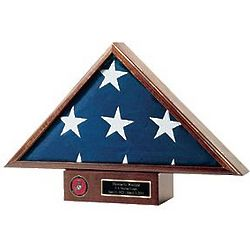 Personalized Flag Display Case and Pedestal