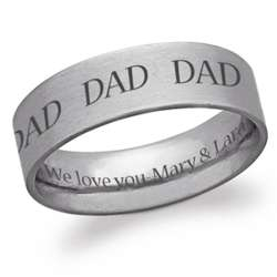 Stainless Steel Dad Engraved Message Flat Band