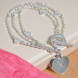 Personalized Pearl Heart Bracelet