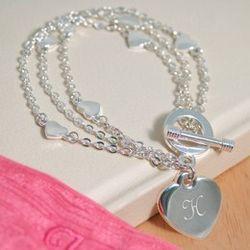 Personalized Pearl Heart Bracelet
