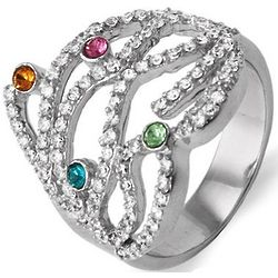 Four Stone Custom Austrian Crystal Birthstone Family Ring