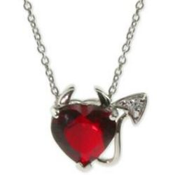 Sterling Silver Ruby Cubic Zirconia Devilish Heart Pendant