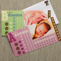 Alphabet Name and Photo Personalized Birth Announcements