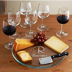 Personalized Wine and Cheese 8 Piece Serving Set