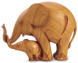 Mother and Baby Elephant Figurine