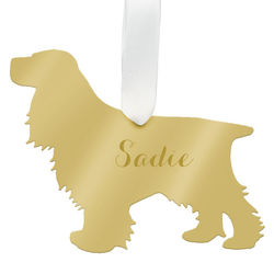 Personalized Cocker Spaniel Christmas Ornament in Gold Acrylic