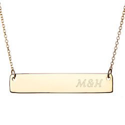 Couples Initials Gold Bar Necklace