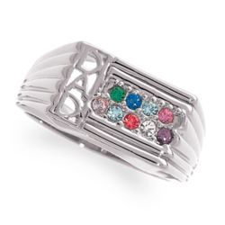 Sterling Silver DAD Birthstone Ring