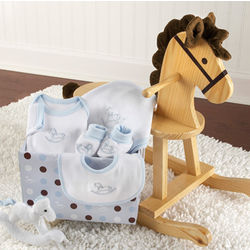 """Rockabye Baby"" Rocking Horse with Plush Toy and Layette Gift Set"