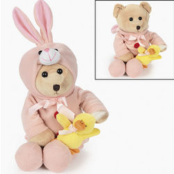 Plush Bear In Bunny Costume