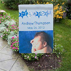 Personalized Baby Announcement Photo Garden Flag