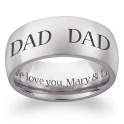 Stainless Steel Dad Engraved Message Extra Wide Band