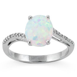 Created Opal and Diamond Accent Sterling Silver Ring