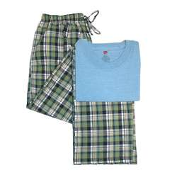 Men's Short Sleeve Crew and Woven Pants Lounge Wear
