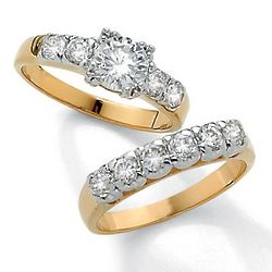 Round Cubic Zirconia 14k Gold-Plated Wedding Ring Set