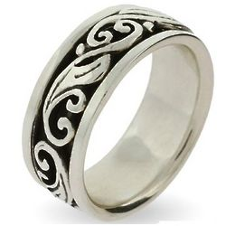 Sterling Silver Spinner Ring with Scroll Design