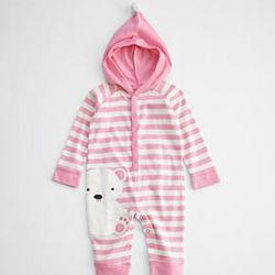 Pink Bear Character Baby Long Johns